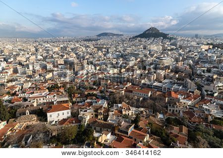 Aerial View Of The City, Athens, Greece.