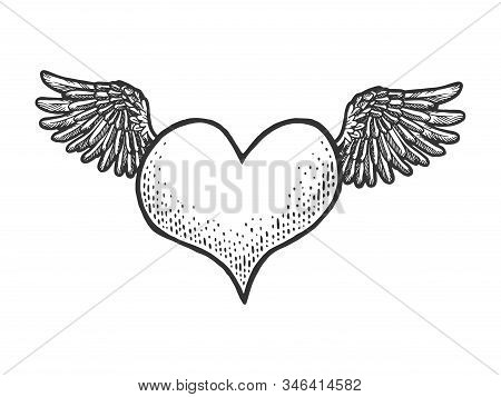 Heart Symbol Fly On Wings Sketch Engraving Vector Illustration. Romantic Love Lovesickness Symbol. T