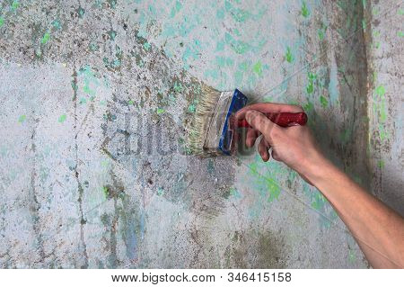 Repair And Priming Of The Wall Before Painting Or Applying Plaster. Painting And Construction Works