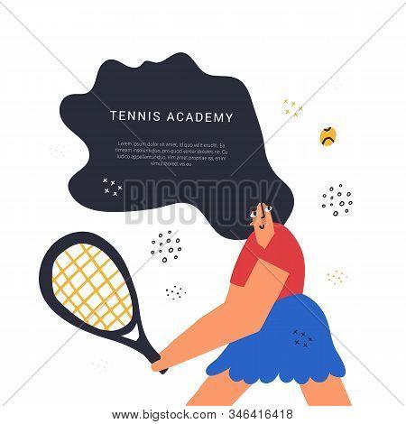 Tennis Academy Class Hand Drawn Banner Template. Sport Racquet Game Lesson Poster Flat Vector Layout