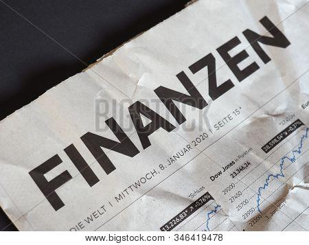 Hamburg - Jan 2020: Finanzen (finance) On Die Welt Newspaper