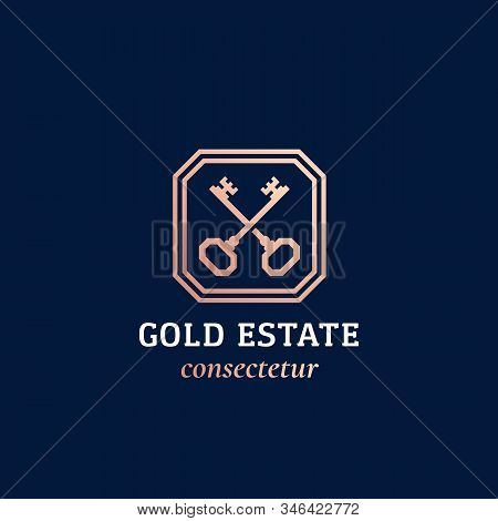 Real Estate Abstract Vector Sign Or Logo Template. Crossed Golden Keys Sillhouette In A Frame With C