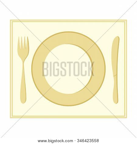 Plate, Fork, And Knife. Insulated Cutlery On A Napkin. Dinnerware. Vector Illustration For Your Desi