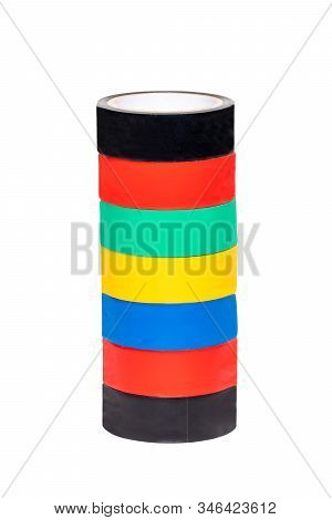 Electrical Tapes Isolated. Close-up Of A Set Of Colorful Rolls Of Insulation Adhesive Tapes Isolated