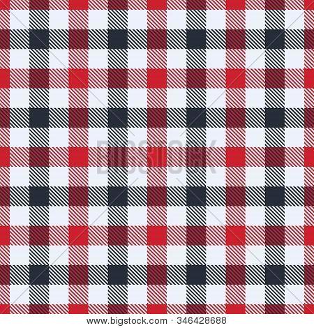 Flame Scarlet, Brilliant White And Black  Tartan  Plaid  Seamless Pattern. Flannel  Shirt Tartan Pat