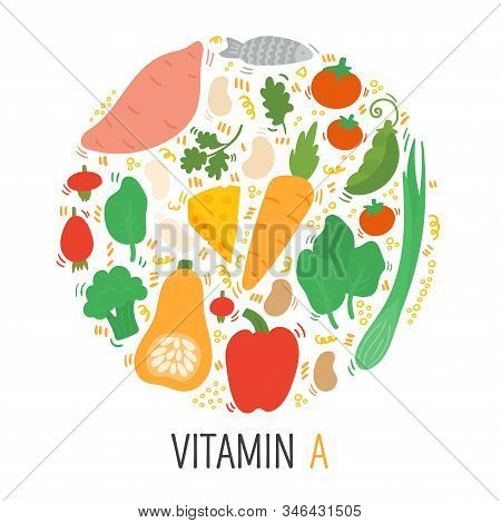 Vitamin A Doodle Flat Illustration In Circle. Hand Drawn Illustration Of Different Food Rich Of Vita