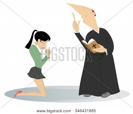 Priest And Prayer Woman In The Kneels Illustration. Young Woman Is Praying In The Kneels And A Preac