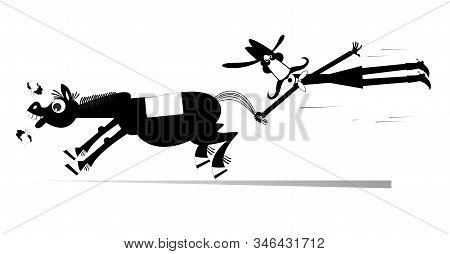 Cartoon Rodeo Illustration. Man Or Cowboy Catches A Running Horse By Horsetail Black On White