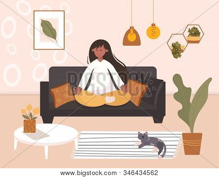 Woman Meditating In The Room Among Plants And Cat. Mindful Breathing For Relaxation And Stress Relie