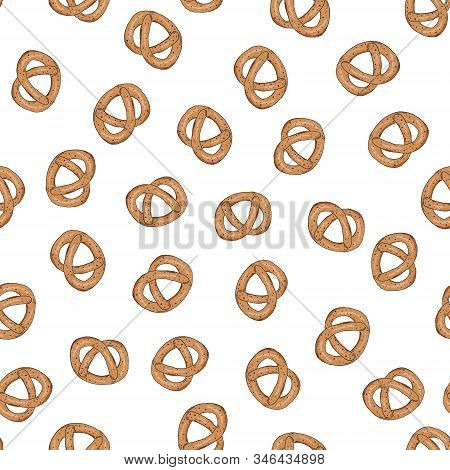 Pretzel Seamless Pattern On A White Background. Pastries, Baked Goods, Snacks For The Holiday. Baby