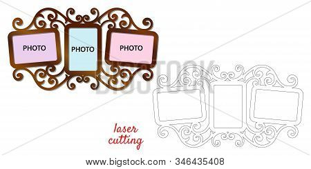 Frame For Photos For Laser Cutting. Collage Of Photo Frames. Template Laser Cutting Machine For Wood