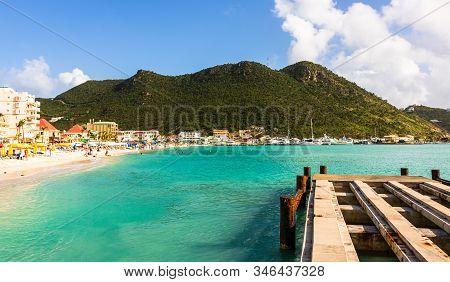 Saint Martin (sint Maarten, St Martin), Island In The Caribbean Sea And The Sandy Beach Seen From Th