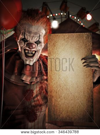 Scary Clown Holding A Blank Empty Grunge Mock Up Poster Card Sign Invitation For Halloween Or Party
