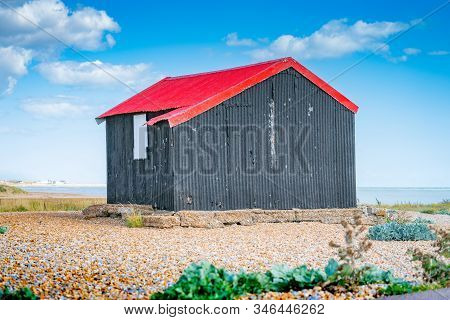 Famous Black Shed With Red Roof On Rye Nature Reserve Used By Shrimp Fishermen Set Outstandingly In