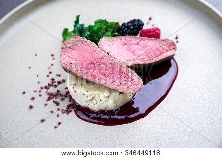Fried dry aged venison tenderloin fillet medallion steak natural with mashed potatoes and raspberry sauce as closeup on a modern design plate