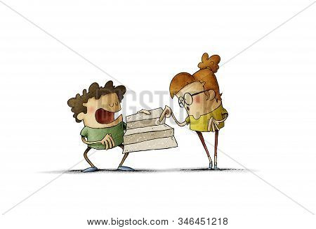 Two Kids Navigate With Map Treasure Hunt - Illustration