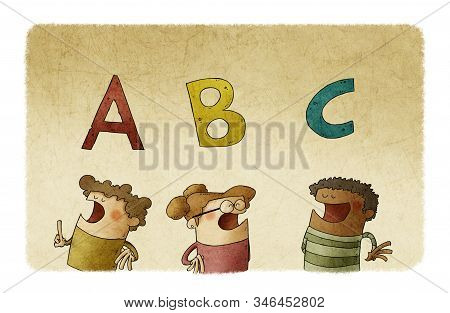 Three Diverse Children Under The First Letters Of The Alphabet. Literacy Learning Concept