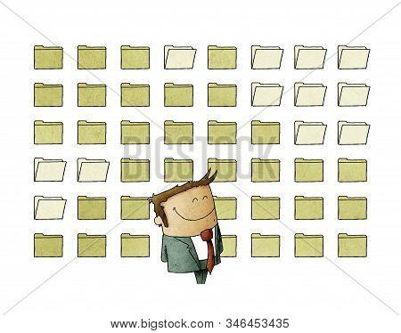 Smiling Businessman Is Standing In Front Of A Background Full Of Digital Files. Isolated