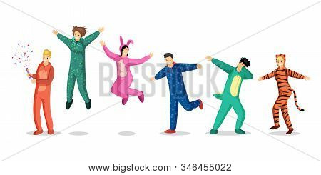 People In Pajamas Vector Illustrations Set. Happy Teenage Girls And Boys In Colorful Costumes, Kids