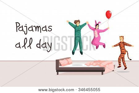 Pajamas All Day Banner Vector Template. Sleepover Costumes Store, Hen Party, Overnight Stay Poster C