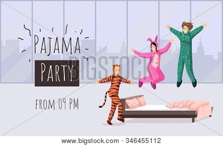 Pajama Party Flat Banner Vector Template. Sleepover, Overnight Stay Invitation, Hen Party Advertisin