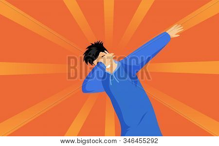 Dabbing Hipster Guy Flat Vector Illustration. Young Man In Blue Hoodie Showing Trendy Dab Sign Carto