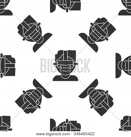 Grey Virtual Reality Glasses Icon Isolated Seamless Pattern On White Background. Stereoscopic 3d Vr