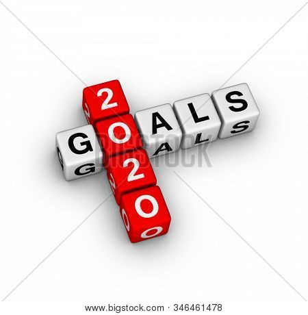 2020 Year Goals Sign. 3D cubes crossword puzzle on white background.