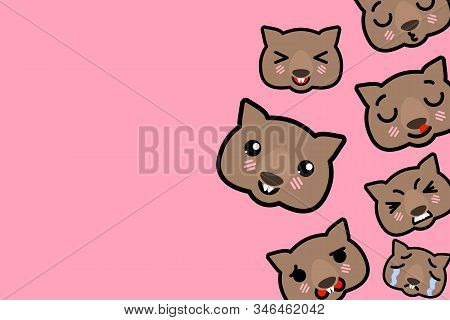 Template Banner With Place For Text - Funny Emoji Wombats Vector Illustration
