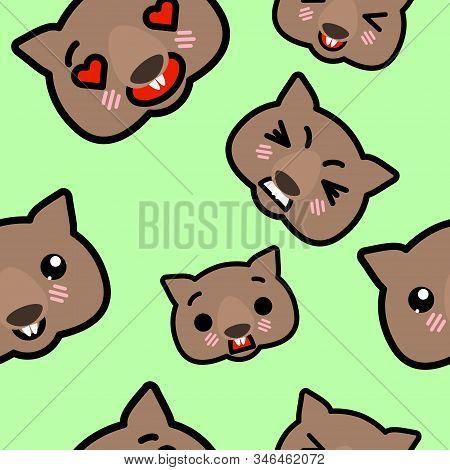 Seamless Pattern With Cute Kawaii Emoji Wombats Vector Cartoon Illustration