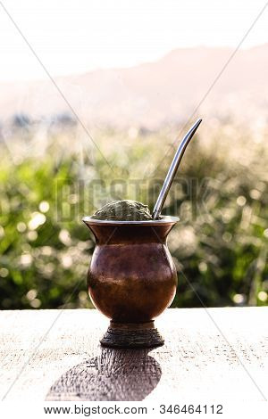 Yerba Mate. Chimarrão, Typical Drink From South America, Chimarrão Day, Hot Mate Herb. South America