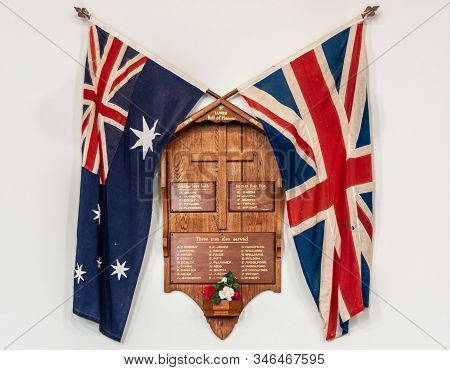 Richmond, Tasmania, Australia - December 13, 2009: Closeup Of Wooden Christian War Memorial With Cro