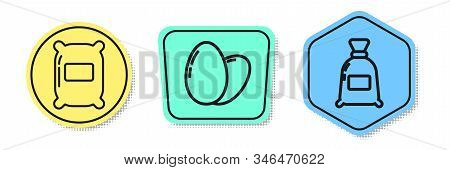 Set Line Bag Of Flour, Chicken Egg And Bag Of Flour. Colored Shapes. Vector