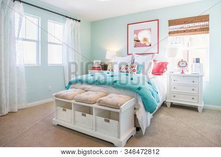 Interior of A Beautifully Decorated Bedroom.