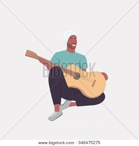 Man Playing Guitar African American Guitarist Sitting On Floor Full Length Vector Illustration