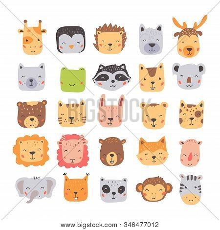 Big Set Of Cute Wild Animals Faces, Bear, Deer, Panda, Rabbit, Fox. Isolated Vector Illustration Ani