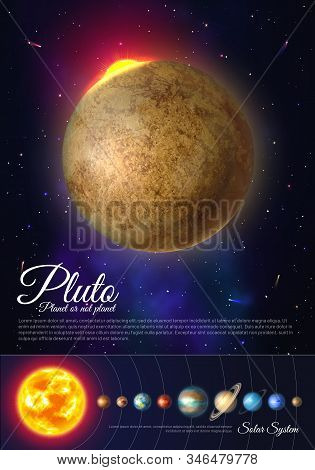 Pluto Planet Colorful Poster With Solar System. Galaxy Discovery And Exploration. Realistic Planetar