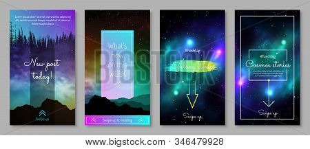 Galaxy Blog Post Design With Swipe Up Button. Colorful Deep Space Background With Stars And Nebulas