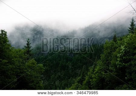 A Fog Settling In Over The Mountains Of Vermont