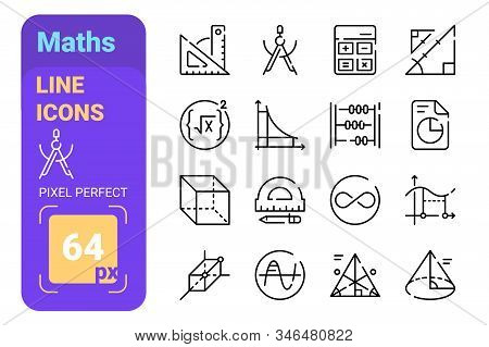 Maths Symbols Of Algebra And Geometry Line Icons Set Vector Illustration. Collection Of Mathematical
