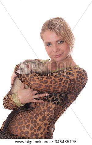 Portrait Of A Girl With A Domestic Polecat