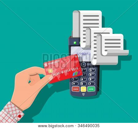 Modern Pos Terminal With Big Paper Receipt. Shopping Concept. Bank Payment Device. Payment Nfc Keypa