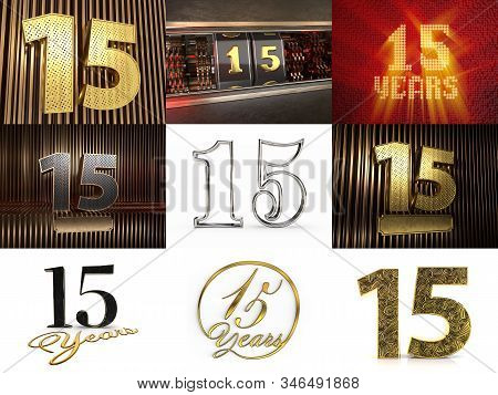 Set Of Number 15 (number Fifteen) Celebration Design. Anniversary Number Template Elements For Your