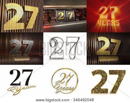Set Of Number 27 (number Twenty-seven) Celebration Design. Anniversary Number Template Elements For