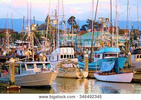 January 16, 2019 In Eureka, Ca:  Combination Of Fishing Boats, Yachts, And Sail Boats Docked At The