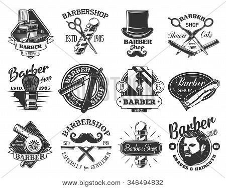 Barbershop Retro Vector Icons. Hair Cutting, Beard And Mustache Shaving, Pole Of Barber Shop, Straig