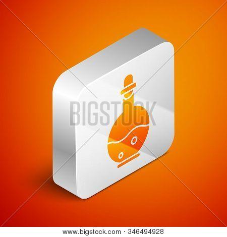 Isometric Glass Bottle With Magic Elixir Icon Isolated On Orange Background. Computer Game Asset. Si