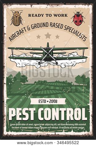 Pest Control, Agricultural Field Retro Crop Duster Biplane. Vector Aircraft And Ground Based Special