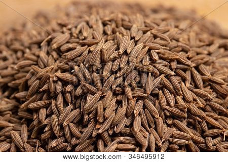 Close Up Of Dried Cumin Seeds Background, Important Spice In Curry And Massaman Curry