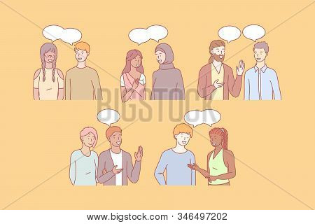 Multicultural People Communicate Together. Young Students Communicate In Multiethic Society. Girls A